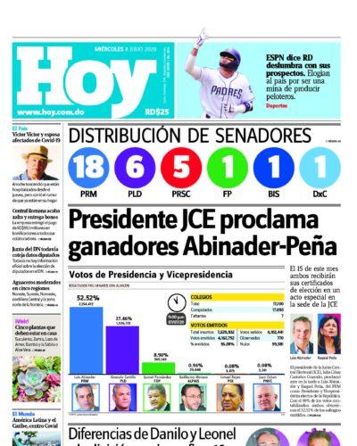 Portada Periódico Hoy, Miércoles 08 de Julio, 2020