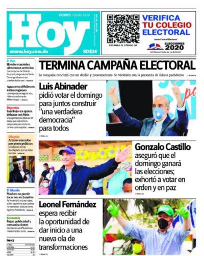 Portada Periódico Hoy, Viernes 03 de Julio, 2020