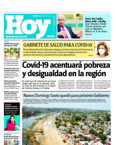 Portada Periódico Hoy, Viernes 10 de Julio, 2020