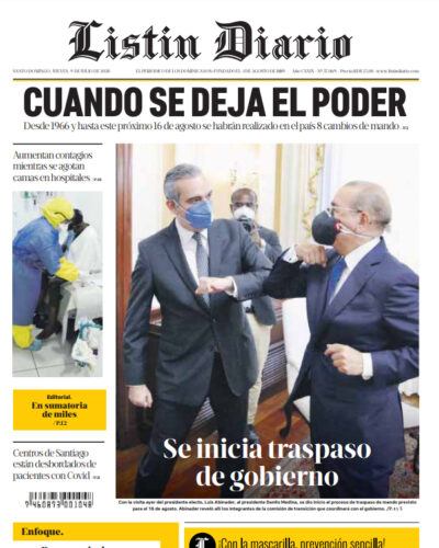 Portada Periódico Listín Diario, Jueves 09 de Julio, 2020