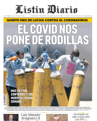Portada Periódico Listín Diario, Lunes 13 de Julio, 2020