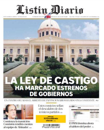 Portada Periódico Listín Diario, Martes 07 de Julio, 2020