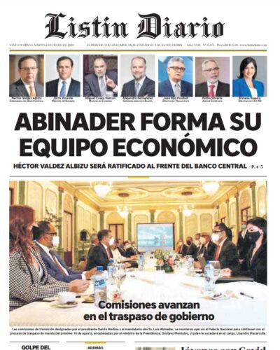 Portada Periódico Listín Diario, Martes 14 de Julio, 2020