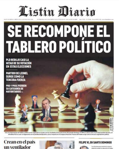 Portada Periódico Listín Diario, Miércoles 08 de Julio, 2020