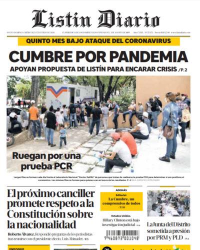 Portada Periódico Listín Diario, Miércoles 15 de Julio, 2020