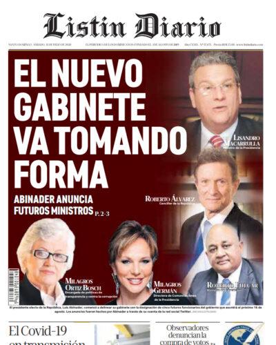 Portada Periódico Listín Diario, Sábado 11 de Julio, 2020