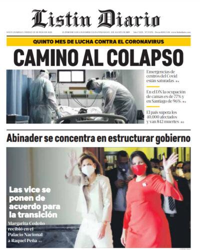 Portada Periódico Listín Diario, Viernes 10 de Julio, 2020