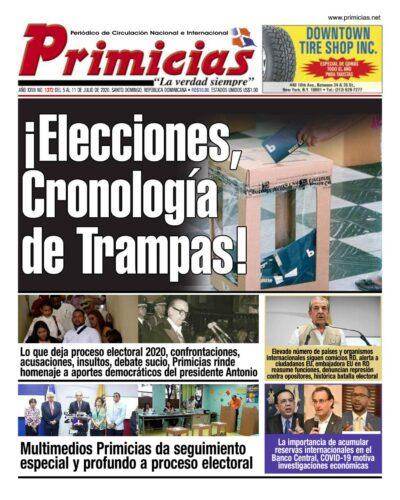 Portada Periódico Primicias, Lunes 06 de Julio, 2020