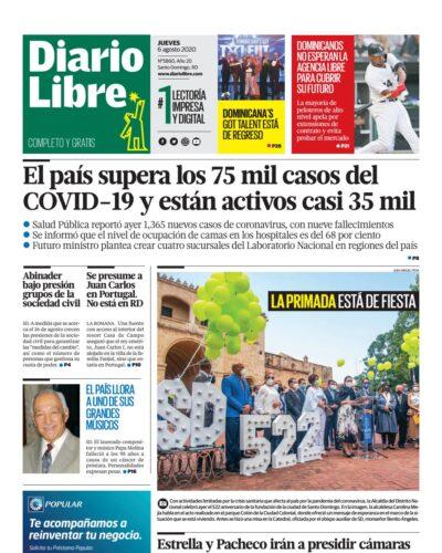 Portada Periódico Diario Libre, Jueves 06 de Agosto, 2020