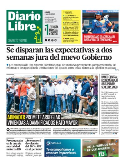 Portada Periódico Diario Libre, Lunes 03 de Agosto, 2020