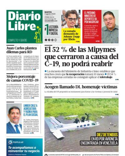 Portada Periódico Diario Libre, Martes 04 de Agosto, 2020