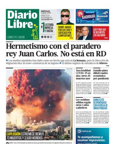 Portada Periódico Diario Libre, Martes 05 de Agosto, 2020