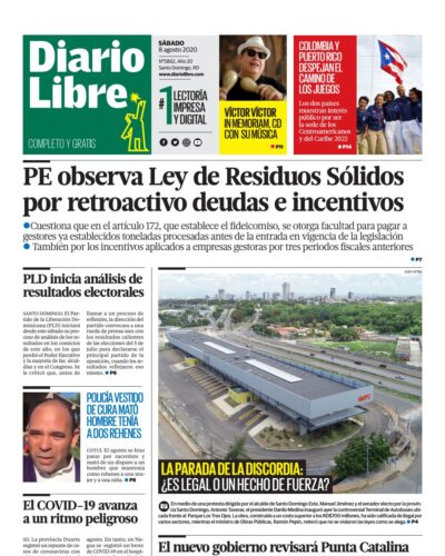 Portada Periódico Diario Libre, Sábado 08 de Agosto, 2020