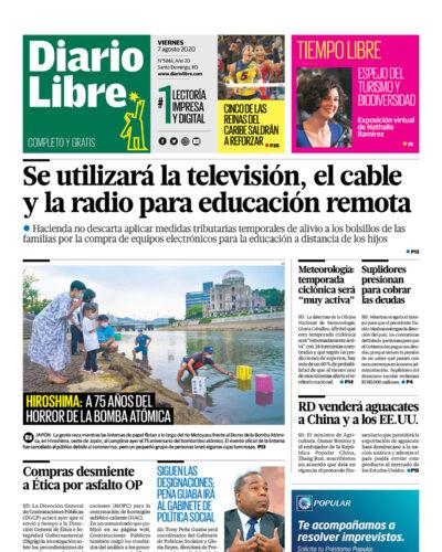 Portada Periódico Diario Libre, Viernes 07 de Agosto, 2020