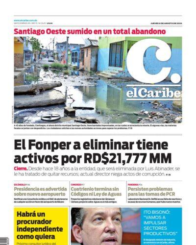 Portada Periódico El Caribe, Jueves 06 de Agosto, 2020