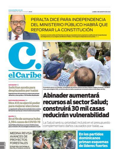 Portada Periódico El Caribe, Lunes 03 de Agosto, 2020