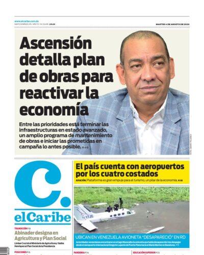 Portada Periódico El Caribe, Martes 04 de Agosto, 2020