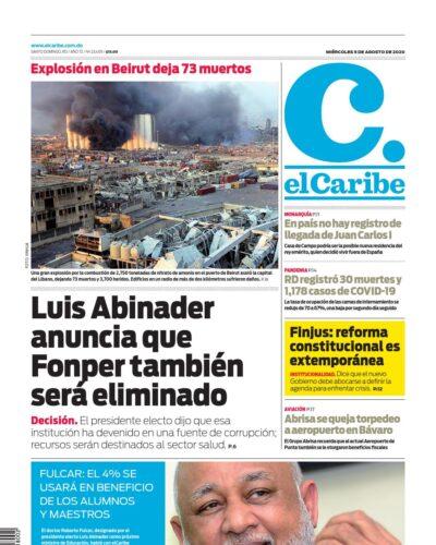 Portada Periódico El Caribe, Martes 05 de Agosto, 2020
