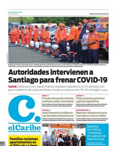 Portada Periódico El Caribe, Sábado 08 de Agosto, 2020