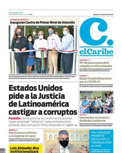 Portada Periódico El Caribe, Viernes 07 de Agosto, 2020