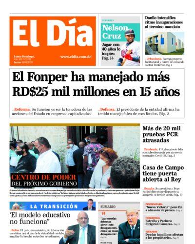 Portada Periódico El Día, Jueves 06 de Agosto, 2020