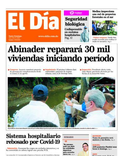 Portada Periódico El Día, Lunes 03 de Agosto, 2020