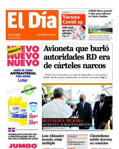 Portada Periódico El Día, Martes 04 de Agosto, 2020