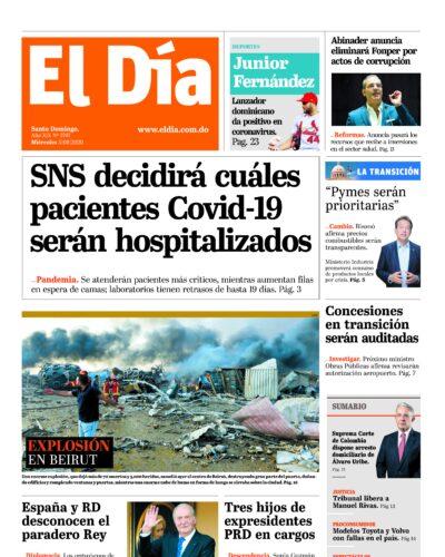 Portada Periódico El Día, Martes 05 de Agosto, 2020
