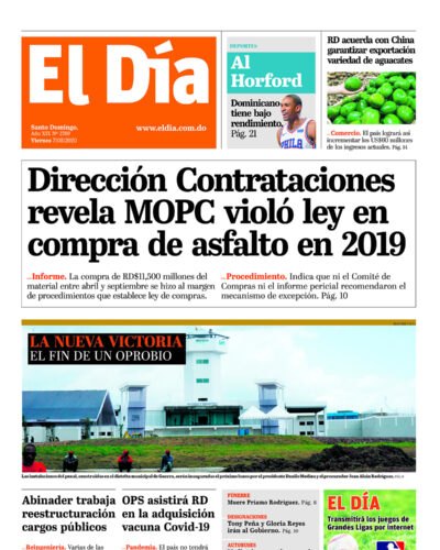Portada Periódico El Día, Viernes 07 de Agosto, 2020