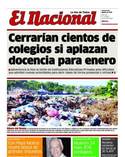 Portada Periódico El Nacional, Jueves 06 de Agosto, 2020