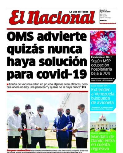Portada Periódico El Nacional, Lunes 03 de Agosto, 2020