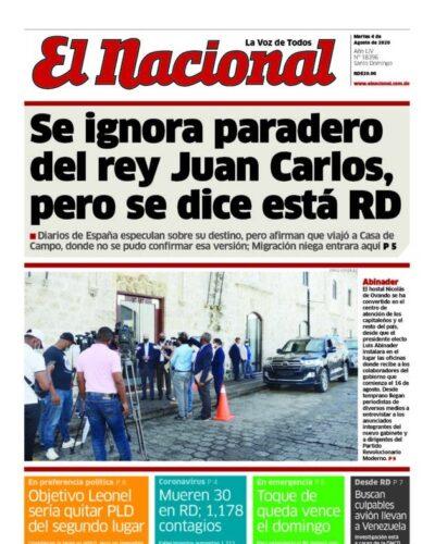 Portada Periódico El Nacional, Martes 04 de Agosto, 2020