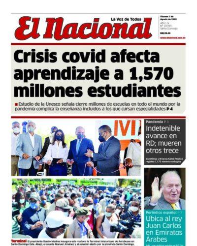 Portada Periódico El Nacional, Viernes 07 de Agosto, 2020