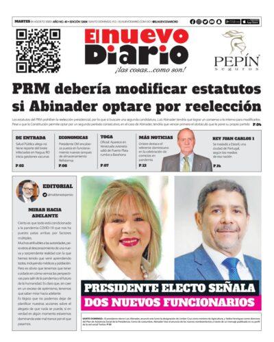 Portada Periódico El Nuevo Diario, Martes 04 de Agosto, 2020