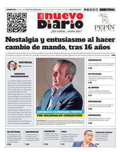 Portada Periódico El Nuevo Diario, Martes 05 de Agosto, 2020