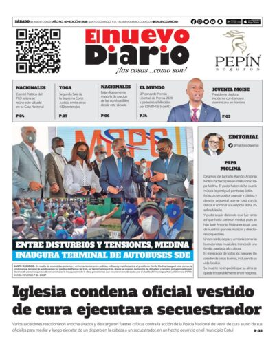 Portada Periódico El Nuevo Diario, Sábado 08 de Agosto, 2020