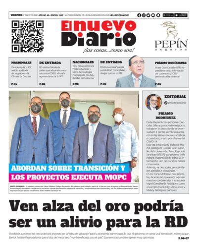 Portada Periódico El Nuevo Diario, Viernes 07 de Agosto, 2020