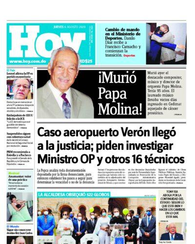 Portada Periódico Hoy, Jueves 06 de Agosto, 2020
