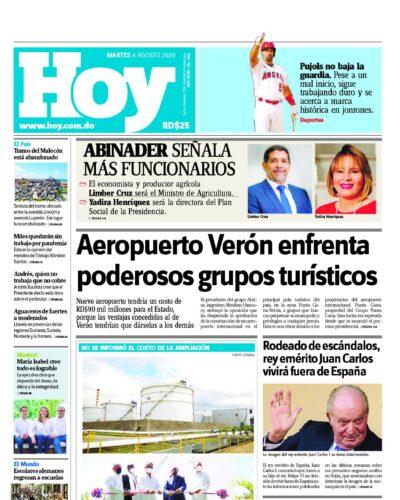 Portada Periódico Hoy, Martes 04 de Agosto, 2020