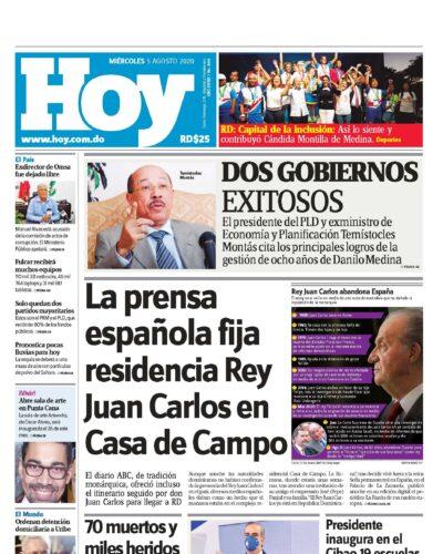 Portada Periódico Hoy, Martes 05 de Agosto, 2020
