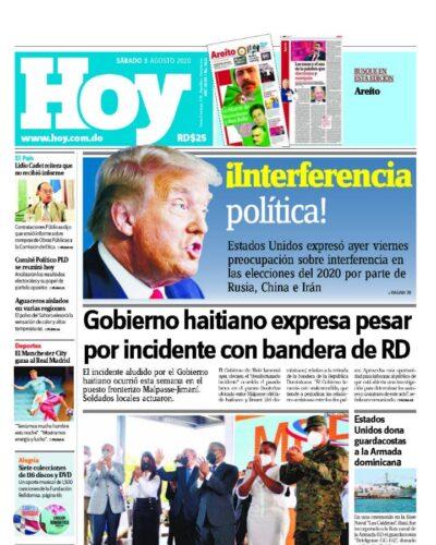 Portada Periódico Hoy, Sábado 08 de Agosto, 2020
