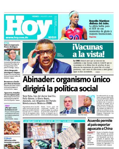 Portada Periódico Hoy, Viernes 07 de Agosto, 2020