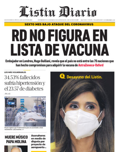 Portada Periódico Listín Diario, Jueves 06 de Agosto, 2020
