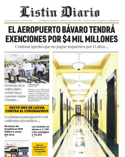 Portada Periódico Listín Diario, Lunes 03 de Agosto, 2020