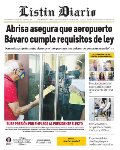 Portada Periódico Listín Diario, Martes 04 de Agosto, 2020