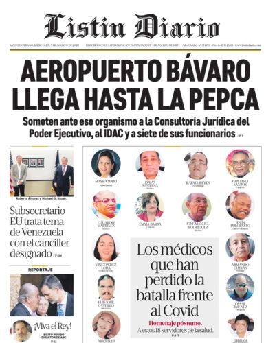 Portada Periódico Listín Diario, Martes 05 de Agosto, 2020