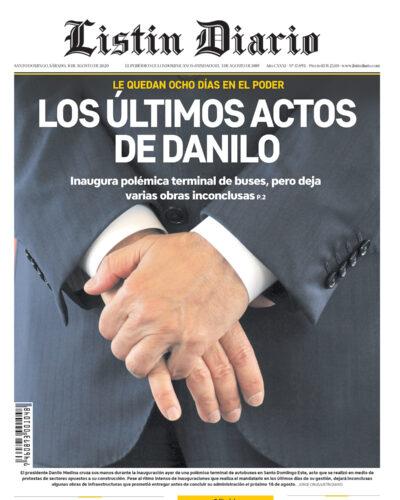 Portada Periódico Listín Diario, Sábado 08 de Agosto, 2020