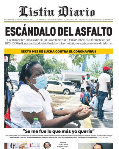 Portada Periódico Listín Diario, Viernes 07 de Agosto, 2020