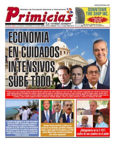 Portada Periódico Primicias, Lunes 31 de Agosto, 2020
