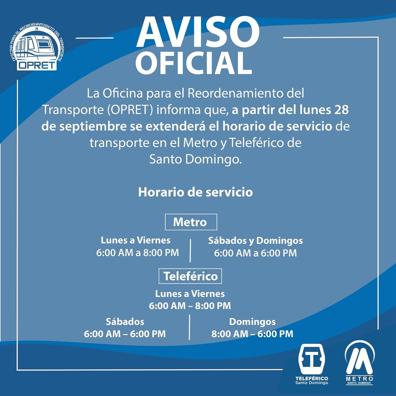 Nuevo horario del Metro y Teleférico, Septiembre 28, 2020